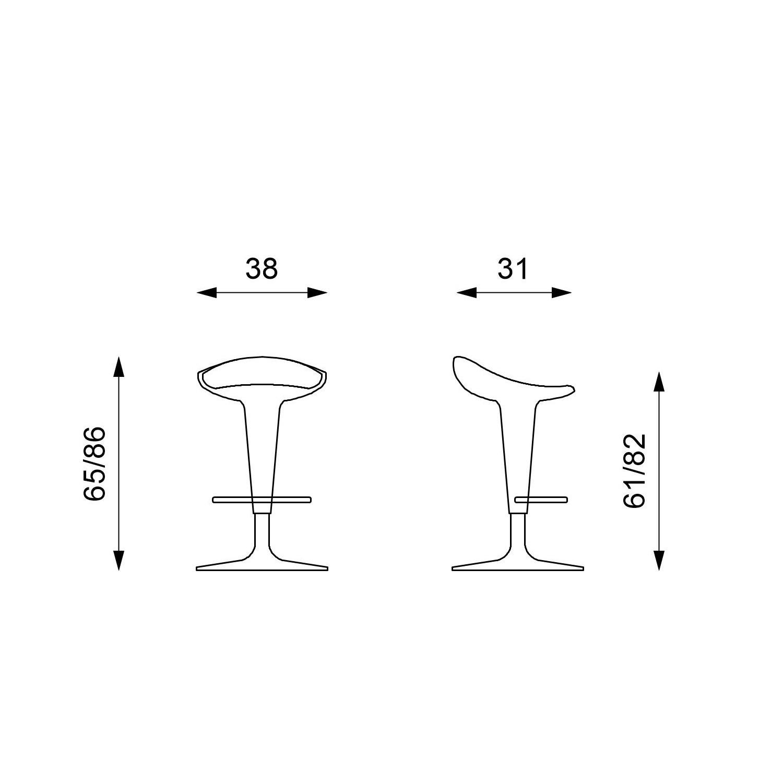 Stones Kevin Set 2 Sgabelli 2 unit/à 38x31x65//86 cm Bianco//Cromo metallo Polipropilene