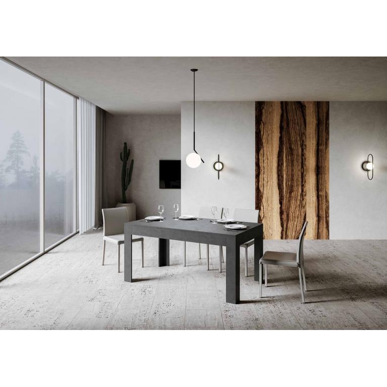 Tavolo Bibi piano Antracite Spatolato 90x160 + 65