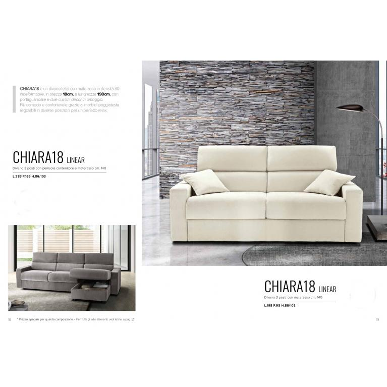 Divano-letto con materasso da 18 cm, indeformabile,con portaguanciali e poggiatesta reclinabili