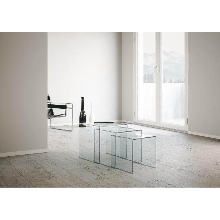 Trittico Nest tavolini trasparenti 34x34x34-38x38x38-42x42x42 New Price 107