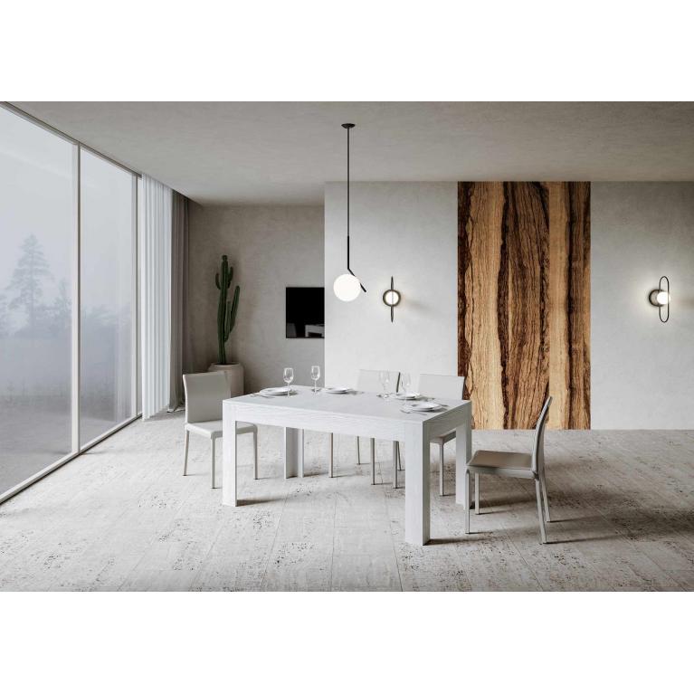 Tavolo Bibi piano Bianco Frassino 90x160 + 65