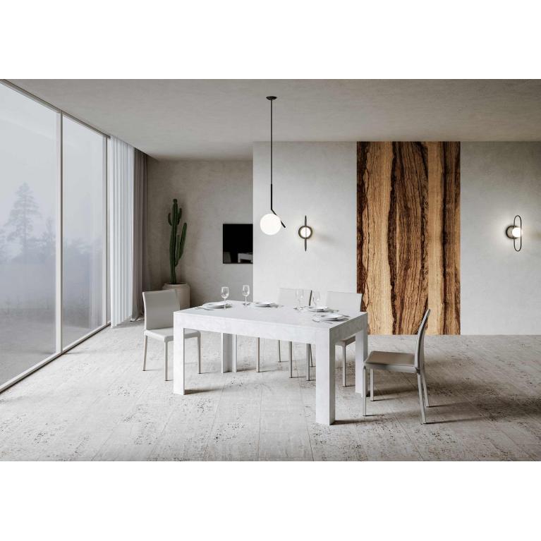 Tavolo Bibi piano Bianco Spatolato 90x160 + 65