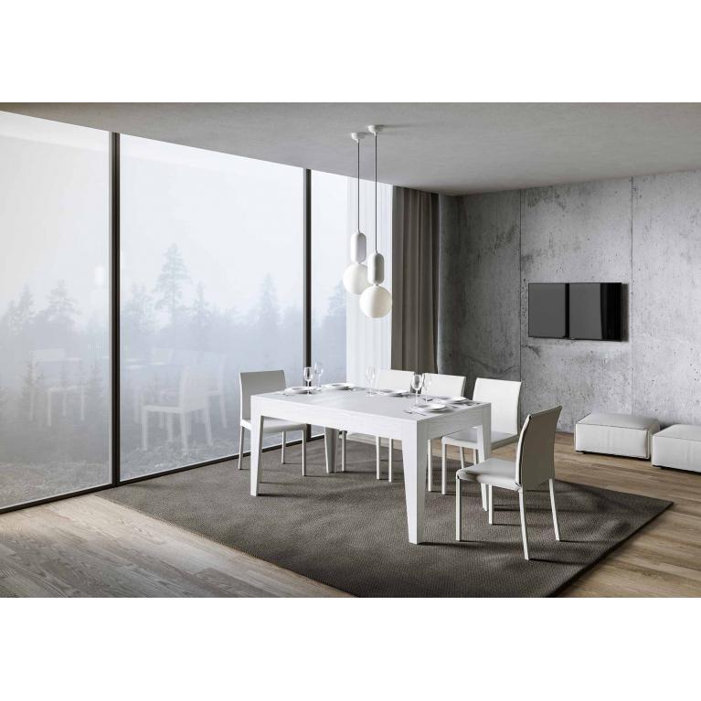 Tavolo Cico piano Bianco Frassino 90x160 + 65 gambe sagomate
