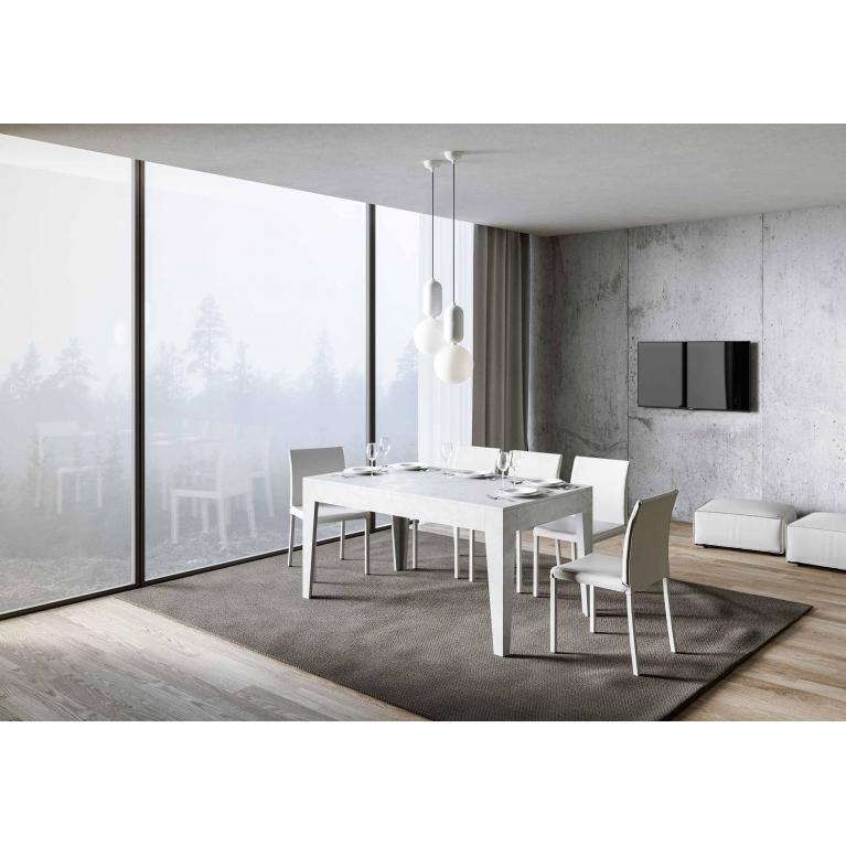 Tavolo Cico piano Bianco Spatolato 90x160 + 65 gambe sagomate