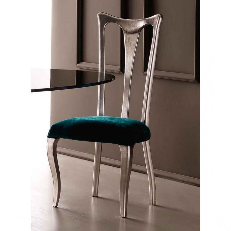 Sedia elegante con schienale in foglia argento e seduta, in tessuto