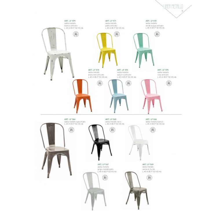 Sedia metallo, colori a scelta tra quelli presenti anche anticati