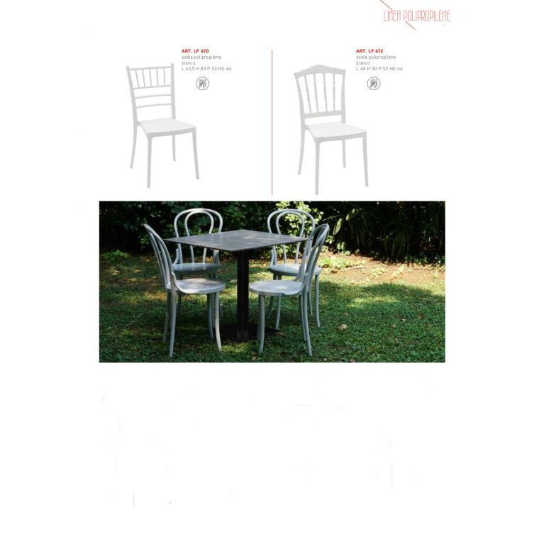 Sedia classica in polipropilene bianco art. LF 670