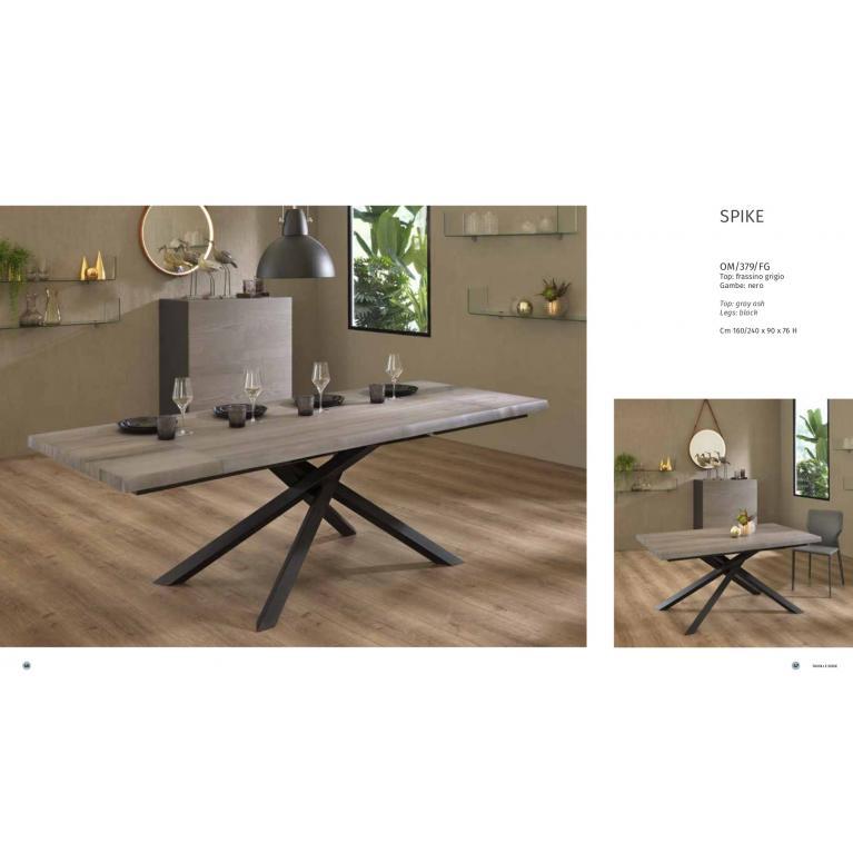 Tavolo soggiorno-cucina allungabile, SPIKE,  con top in legno grigio, gambe nero. CM 160/240 L.90 H 76