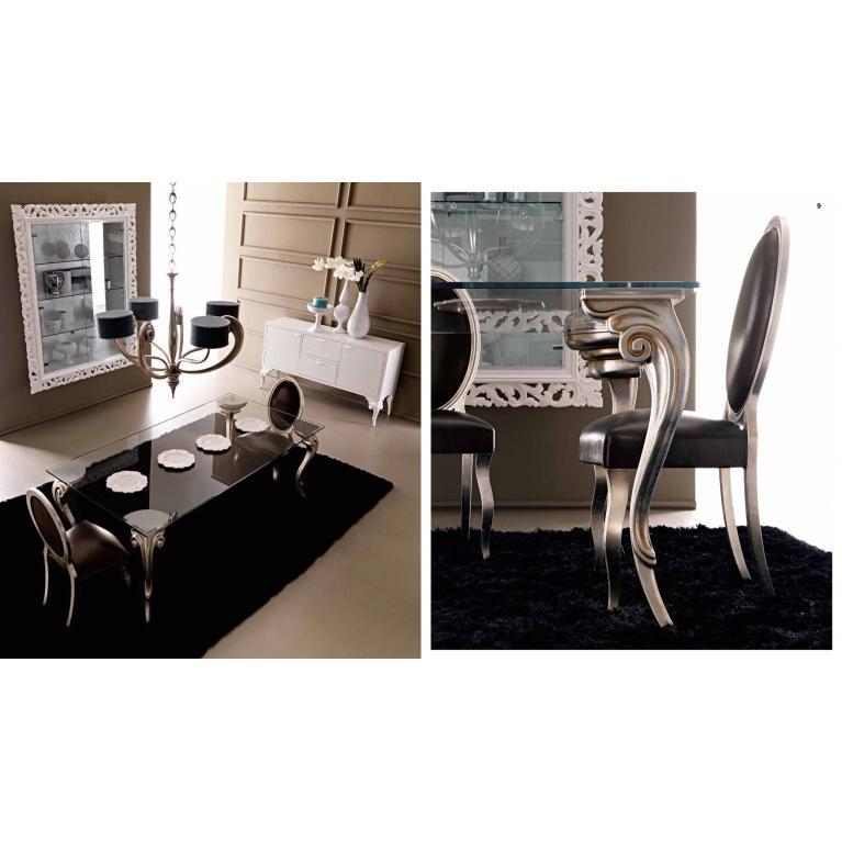Tavolo pranzo Mod. Antares con piano vetro temperato extra chiaro, luxury ditta Cortezari, soggiorno, gambe foglia argento