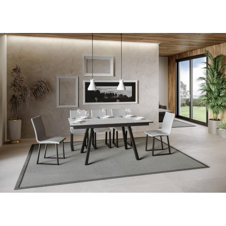 Tavolo Mirhi piano Bianco Frassino 90x160 + 60  telaio Antracite