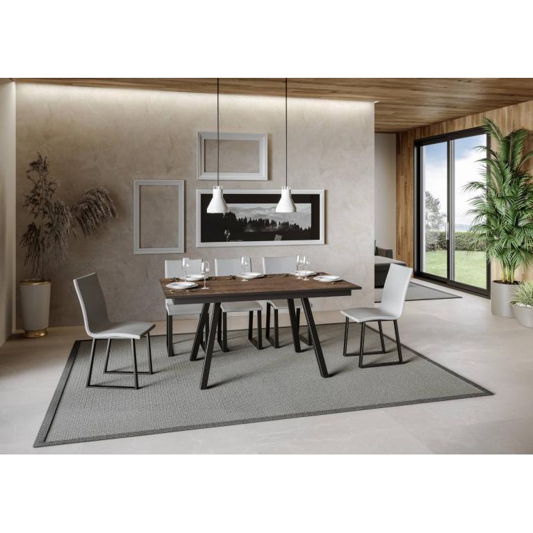 Tavolo Mirhi piano Noce 90x160 + 60  telaio Antracite