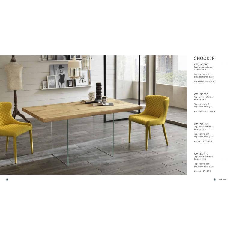 Tavolo fisso SNOOKER soggiorno -cucina, con top in legno rovere naturale, gambe in vetro temperato cm 200x100