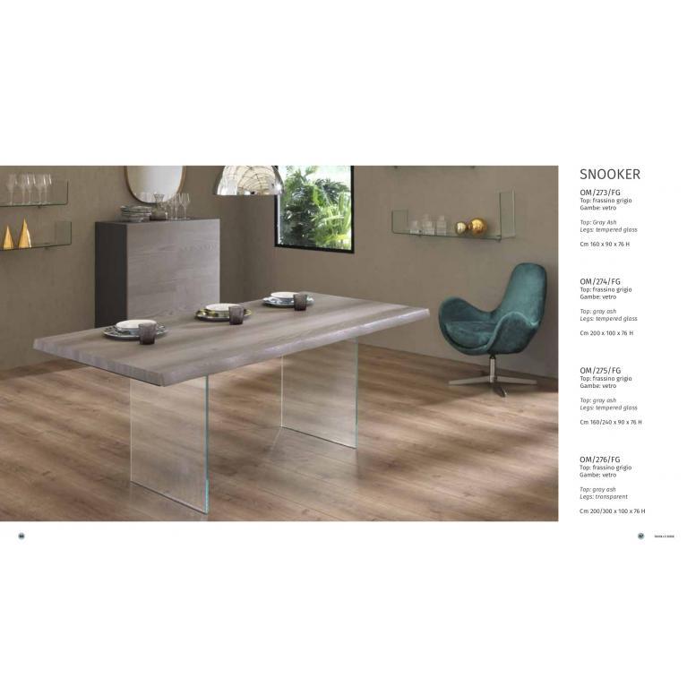 Tavolo allungabile SNOOKER, soggiorno cucina  con top in legno frassino grigio, gambe in vetro da cm 160/240 L.90 H 76