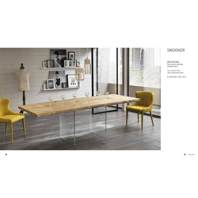 Tavolo allungabile SNOOKER  soggiorno, piano in legno rovere naturale,base vetro
