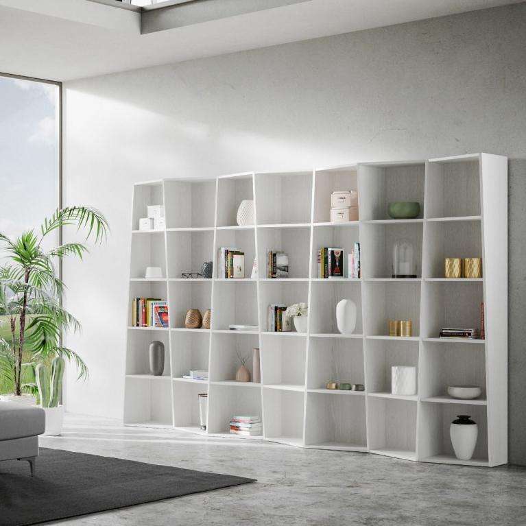 Libreria Trek 7 elementi Bianco Frassino